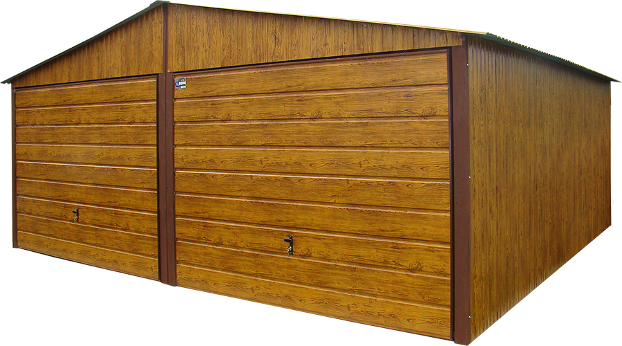 Garaże blaszane premium szeroki panel Zloty Dab 6x5