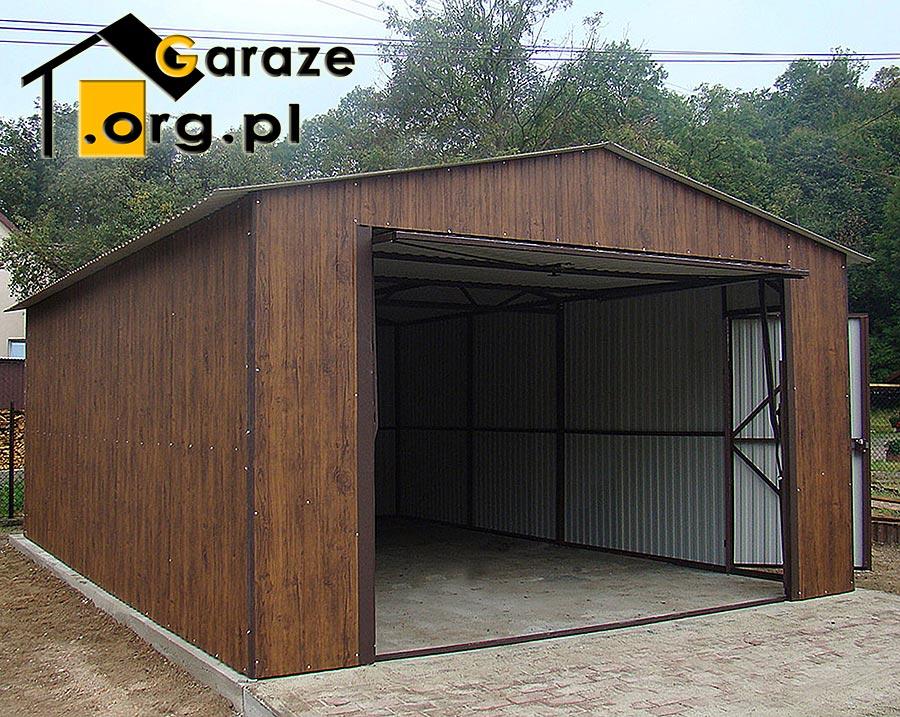 Drewnopodobny Garaż Blaszany Orzech 4x6 Producent Stalgar