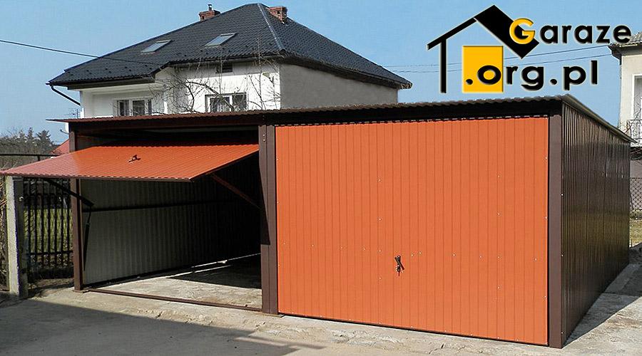 Garaż Dwustanowiskowy Z Blachy Dach Jednospadowy Bramy Uchylne