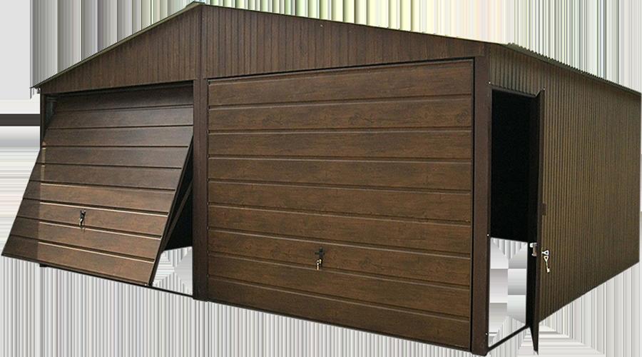 Garaże blaszane premium szeroki panel bram Orzech 6x5
