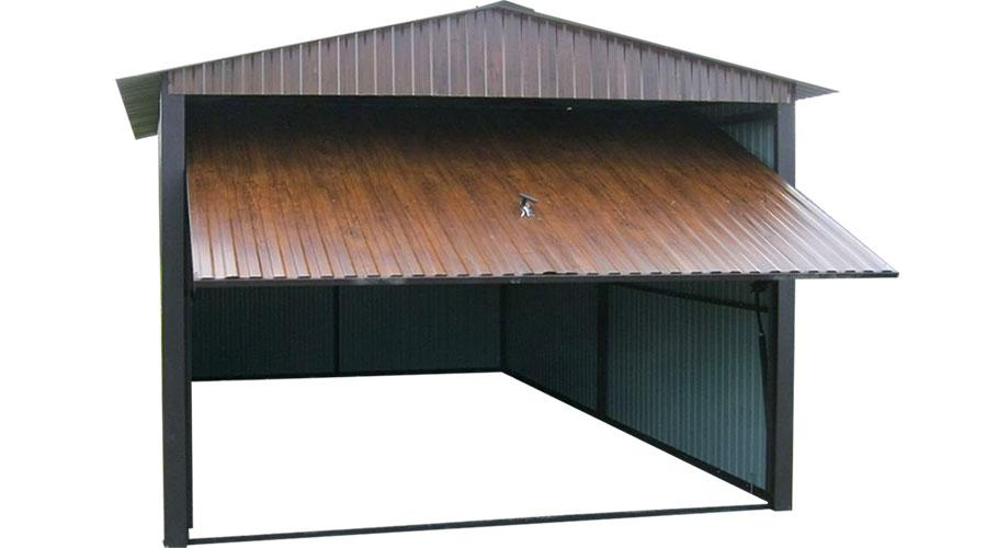 Eleganckie garaże blaszane z blachy orzech na jedno auto