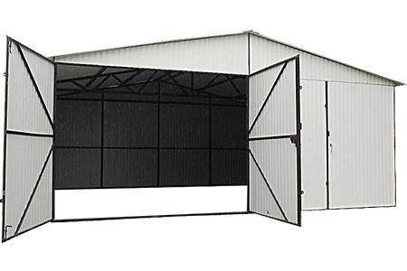 Garaże blaszane 6x5 z blachy kolorowej bramy dwuskrzydłowe