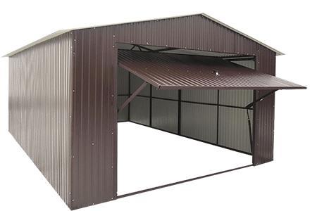 Garaże blaszane  4x6  RAL dwuspadowe brama uchylna