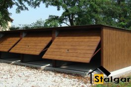 Garaże blaszane PREMIUM potrójne szeroki panel Orzech 9x5