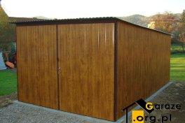 Garaż blaszak 3x5 drewnopodobny imitujące drewno orzech z bramą otwieraną na boki