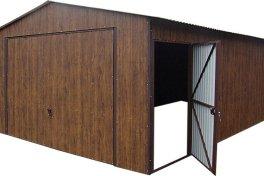 Duże garaże blaszane premium Orzech 4x6